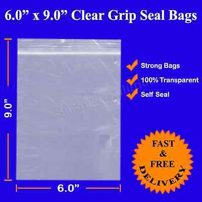 Grip Self Seal Resealable Clear Plastic Bag 6 x 9 for A5 Size Cheapest 152x229mm