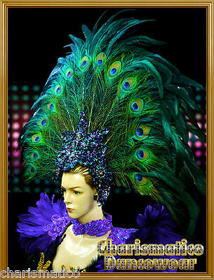 CHARISMATICO PEACOCK GREEN Drag QUEEN CARNIVAL Feather DIVA Pageant Headdress