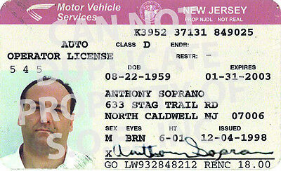 The Sopranos - Anthony Soprano - Prop Driver License [ NOT REAL ]