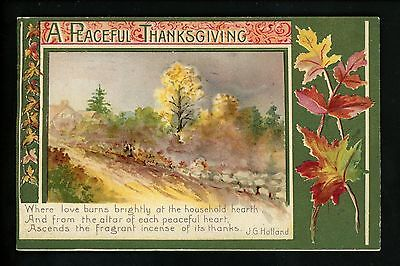 Thanksgiving Vintage postcard John Winsch Outdoor scene embossed Holland Quote