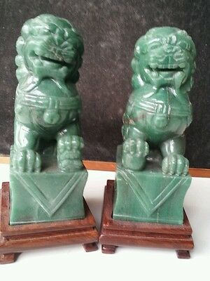 Nephrite Jade FOO DOG Statue Set w/ Wood Stands