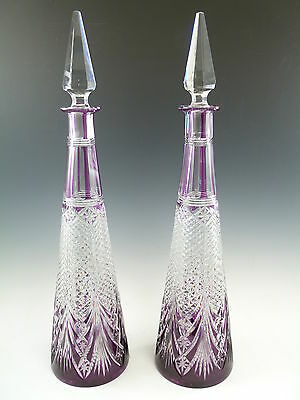 """BACCARAT Crystal - Stunning Pair Cut-to-Clear FANTASIE DECANTERS - 16 1/2"""""""