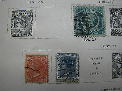 NEW SOUTH WALES 1860-1906 COLLECTION on an OLD SCOTT ALBUM Page - 15 Stamps