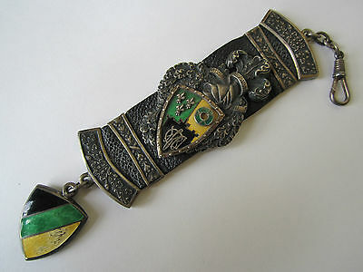 IMPORTANT ANTIQUE HEAVY SILVER W ENAMEL POCKET WATCH FOB FOR ALBERT CHAIN 67g !