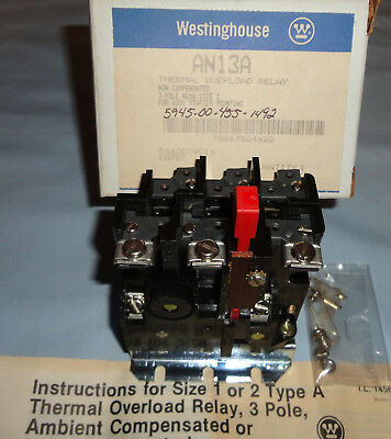 Westinghouse AN13A Thermal Overload Relay 3 Pole Size1 For A200 Starter Mounting