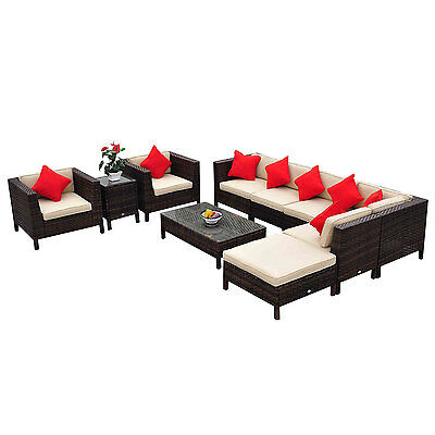 Deluxe 9pc Outdoor Rattan Wicker Sectional Patio Furniture Sofa Chair Couch Set