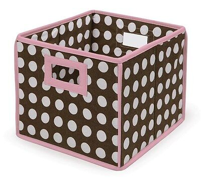 Folding Basket/Storage Cube Pink Trim/Brown Polka Dot Set Of 2 NEW