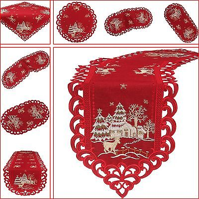 Christmas Dark Red Tablecloth Table Runner Doily Linen Look Embroidery  Winter