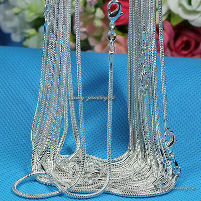 """Wholesale lots 925 Sterling Solid Silver Plated 1mm Snake Chain Necklace 16""""-24"""""""