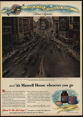 1946 The Crossroads - ALFRED MIRA Times Square Art - MAXWELL HOUSE - VINTAGE AD