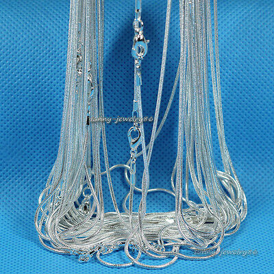 """Wholesale 10pcs/20pcs Silver Plated 1.2mm Snake Chain Necklace 16"""",18"""",20"""",24"""""""