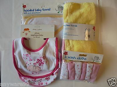 Baby Girl Bath Set; 2 Neck Bibs; Hooded Towel; 3 Face Towels; 6 Wash Cloths; Sft