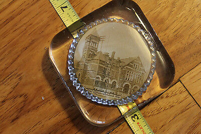 Vintage Glass Paperweight Oshkosh Wis. Post office