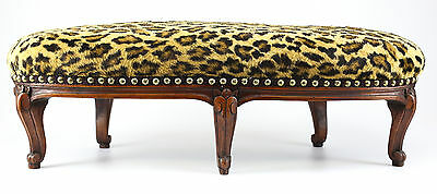 19th Century French Curved 5 leg Footrest, Reupholstered with Faux Leopard Fur