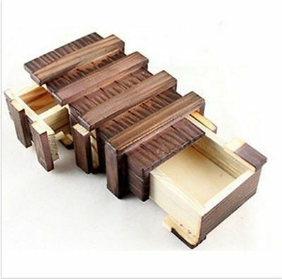 Wooden Puzzle Secret Wood Box Mind Game IQ Safe Cash Lock Brain Teasers
