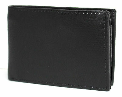 Full Grain Cow Hide Compact Leather Wallet.Black.11055