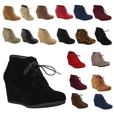 NEW Womens Wedge Booties Oxford High Heels Ankle Boots Shoes Fashion Platform sz