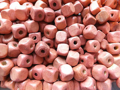 WOOD BEADS, CUBE, SHELL PINK, 10mm OR 5mm SPACER BEADS JEWELLERY MAKING