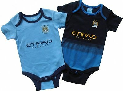 Manchester City FC 2 Pack Kit Baby Vests Season    SIZE 12-18 Months