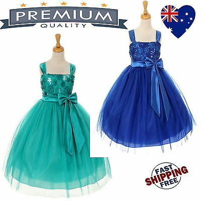 New Tulle Sequin Girls Dress Flower Girl Dress Bridesmaid Dress Jade Royal Blue
