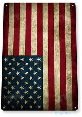 "TIN SIGN ""American Flag"" Metal Decor Wall Art Store Shop Bar Cave A212"
