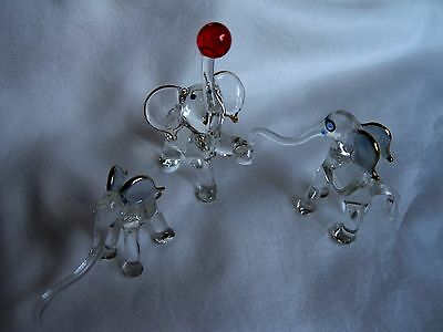 LOT of 3 Blown Glass Crystal BABY ELEPHANT FIGURINES!   DELICATE Happy TRIO SET!