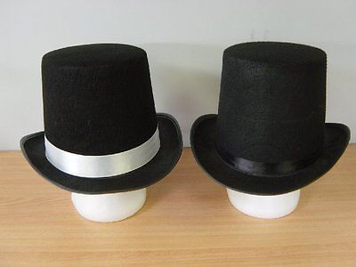 Adult Black Magician Top Hat Costume Formal Mat Hatter Party & more