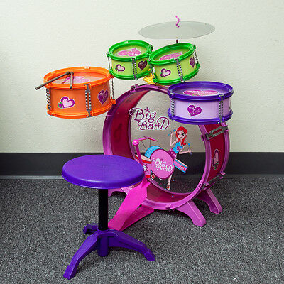 Toys Children Colorful Drum Boy Girl Music 8pc Drum Set with Stool Kids Play