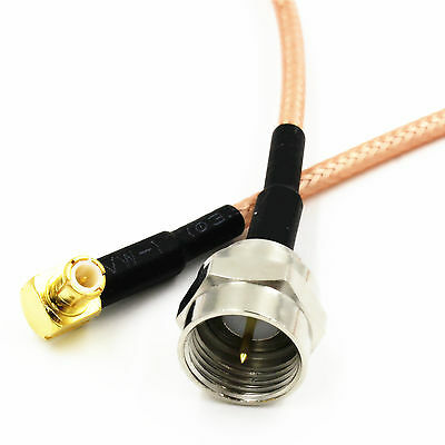 F Male to MCX Male Right Angle Crimp RG316 Pigtail RF Cable 15cm