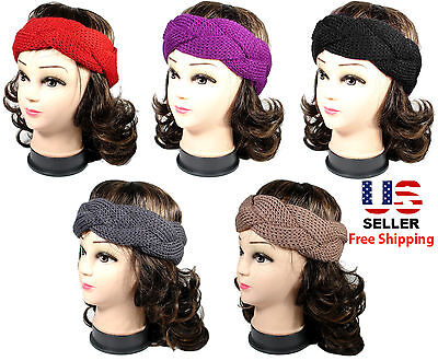f5bf499a61f Women Lady Winter Warm Crochet Cable Twist Knit Head Wrap Headband Ear Muffs