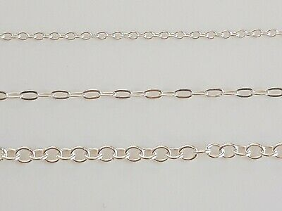 """Solid 925 Sterling Silver Trace Chain Necklace Chain 15"""" - 30"""" 1.5 or 3mm Width"""