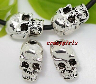 50pcs Tibet Silver skull Jewelry Finding Charm Beads 10x6mm(lead free)