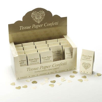 WEDDING CONFETTI Throwing Biodegradable VINTAGE ROMANCE Paper IVORY GOLD Heart