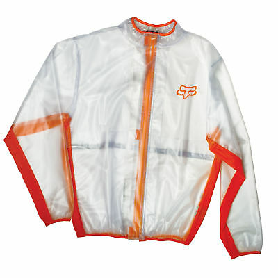 Fox Racing NEW Mx Raincoat Orange Clear Enduro Motocross Rain Fluid Jacket
