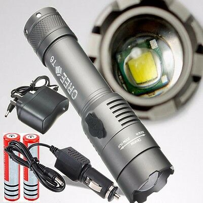 2200LM CREE XM-L T6 LED Rechargeable Flashlight Torch w/ 18650 Battery & Charger