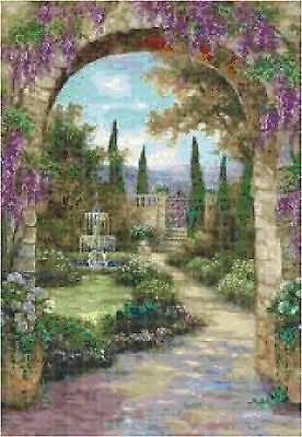 Cross Stitch Chart Pattern Paradise Fountain Needlework Picture Design Craft