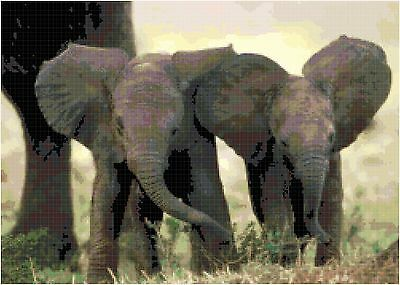 Cross Stitch Chart Pattern Baby Elephants Needlework Picture Design Craft