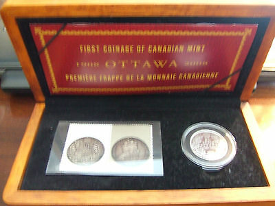 CANADA SILVER 50 CENT 1908 2008 proof with STAMP ! WITH WOOD CASE !