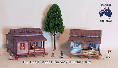 HO Scale Country Cottages x 2 - Model Railway Building Kit - RECC3