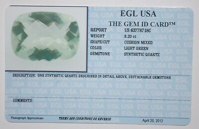 Egl Usa Tested&certified Synthethic Quartz 8.20 Ct. Ligth Green Cusion Mixed