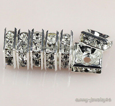 Silver Plated Czech Crystal Rhinestone Square Spacer Beads 5x5/6x6/8x8/10x10mm