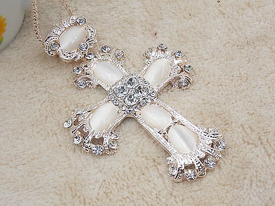 Free shipping! The new crystal opal cross necklace # A082