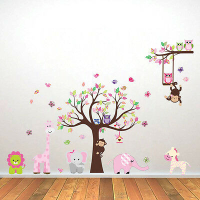 Large  Zoo Lion Monkey Tree Removable Wall Decal Sticker Kid Room Home Decor