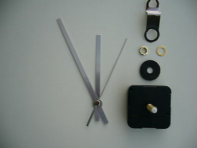 CLOCK MECHANISM QUARTZ EXTRA LONG SWEEP SPINDLE. 130mm SILVER BATON HANDS
