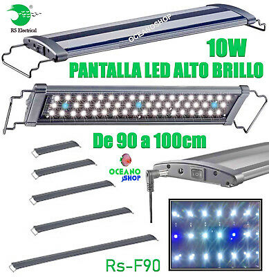 Pantalla regulable led 90-100cm 10w rs-f90 alto brillo acuario 6500k pecera