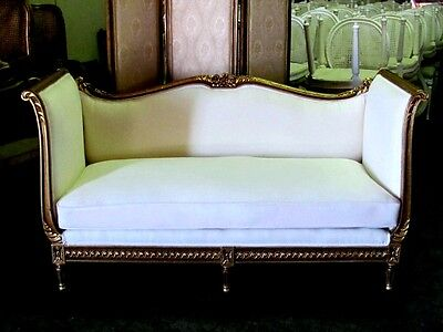 Magnificent French Gilt Louis XVI Settee Daybed Sofa