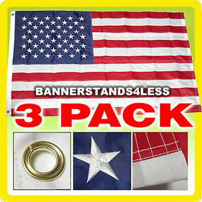 3 PACK - 3x5 Ft American Flag US USA Embroidered Nylon Deluxe Stars Sewn Stripes
