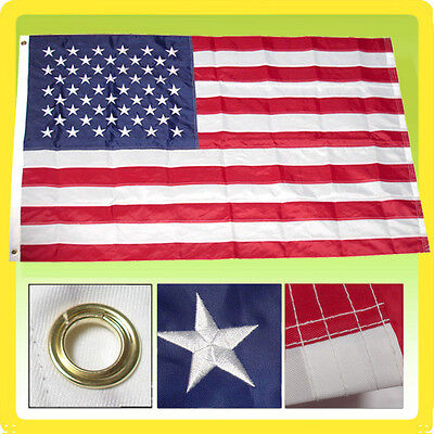3x5 Ft US American Flag Heavy Duty Nylon Deluxe Embroidered Grommet USA