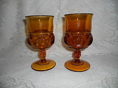 2 Indiana Glass Co Amber Kings Crown & Thumbprint 8oz Wine/Water Goblets~