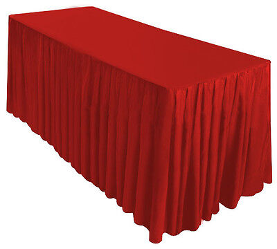 6' Fitted Table Skirt Cover w/Top Topper Wedding Banquet Tablecloth - RED